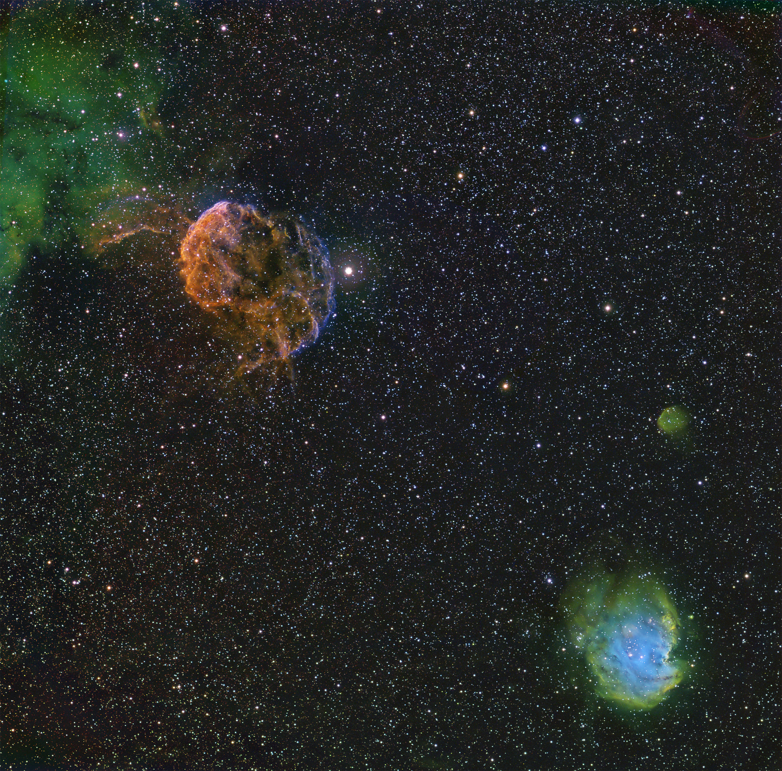 IC443, Jellyfish SNR Tricolor Narrowband