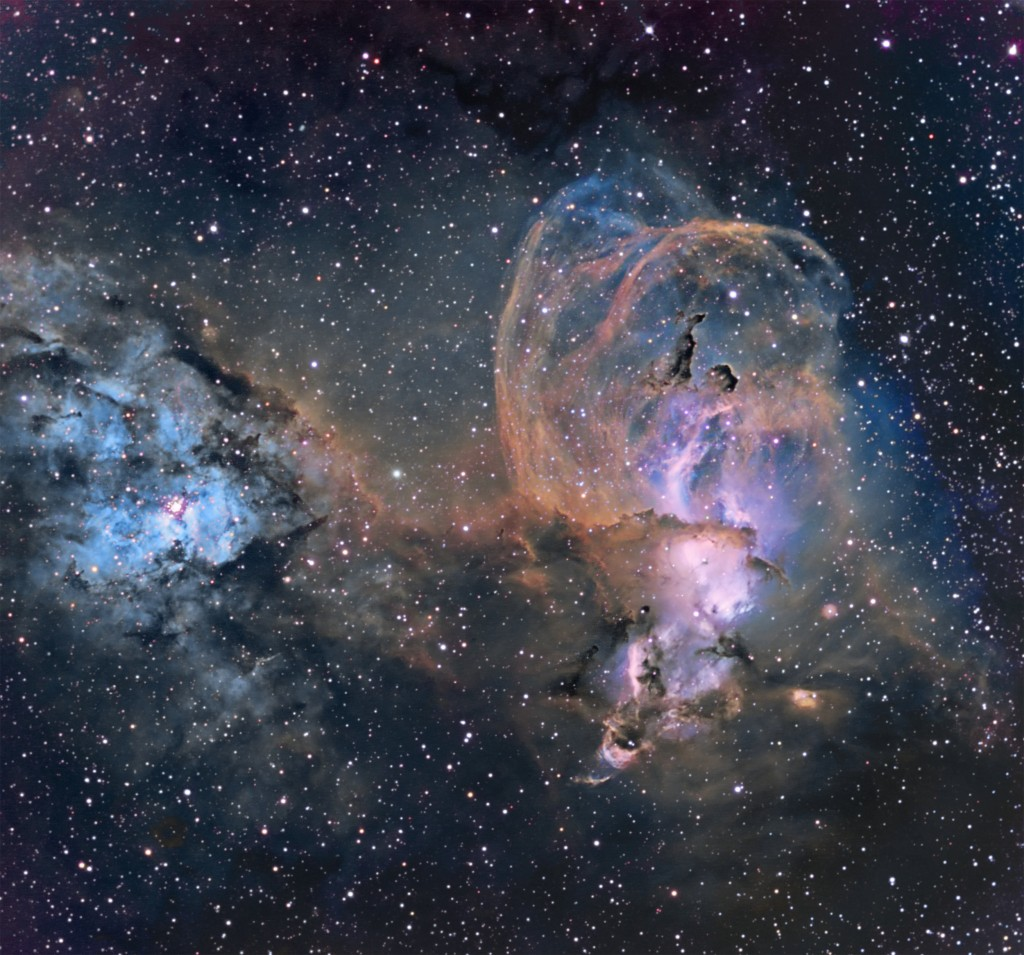 NGC 3576 and NGC 3603 in Carina