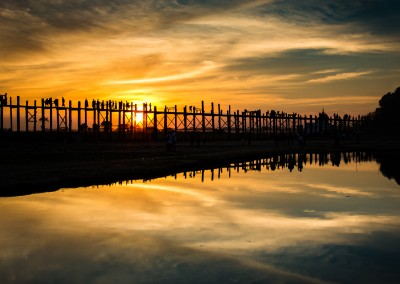 U Bein Teak Bridge 2, Taung Tha Man Lake at Sunset, Myanmar