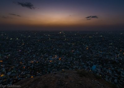Jaipur City Lights at Sunset from High Up At Nahar Singh Bhomiyan Temple