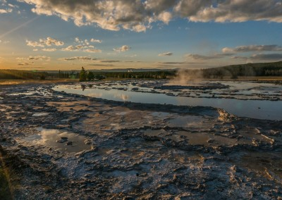 Almost Sunset Great Fountain Geyser