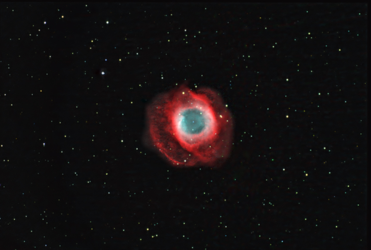Helix Nebula with Halo H-a/OIII and RGB