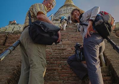 Climbing Shwesandaw Temple, Bagan, Myanmar