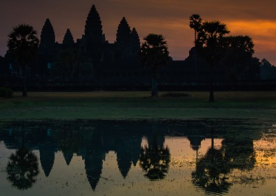 Sunrise Reflection Angkor Wat Cambodia