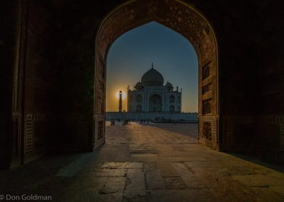Taj Mahal Sunset from Inside East Gate