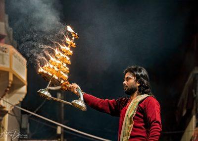 Varanasi Priest with Tiered Brass Lamp