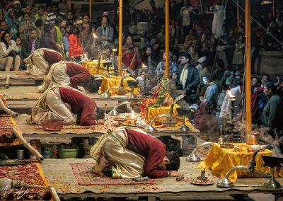 Varanasi Aarti Priests Near End of Ceremony