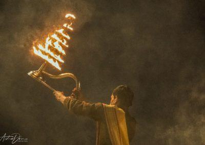 Varanasi Priest with Tiered Brass Lamp 2