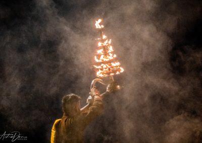 Varanasi Priest with Tiered Brass Lamp 3