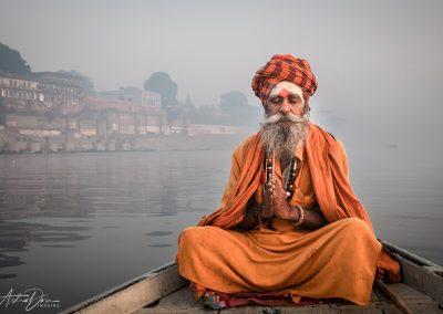 Varanasi Sadhu Prayer on the Ganges 2
