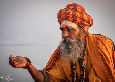 Varanasi Sadhu With Ganges Water
