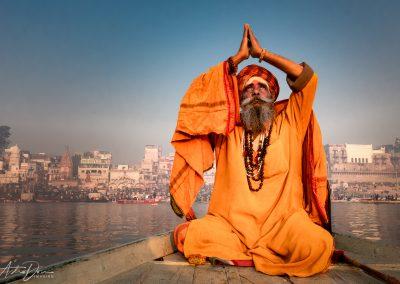 Varanasi Sadhu Prayer on the Ganges
