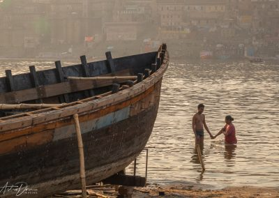 Varanasi Couple Bathing in the Ganges