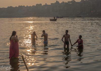 Varanasi Family Bathing