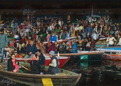 Varanasi Aarti Devotees on the Ganges