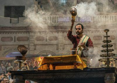 Varanasi Aarti Priest with Brass Pot