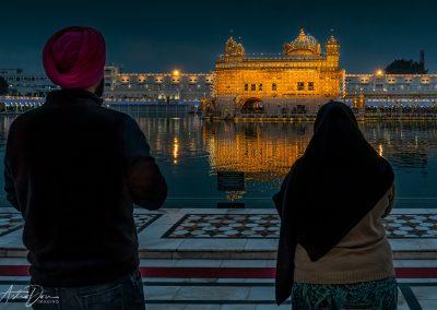 Sikh Couple Enjoying Golden Temple at Night