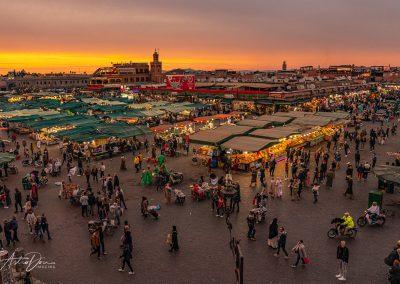 Sunset at Jama El F'na Market Marakesh
